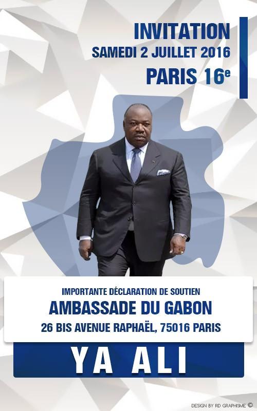 France-Communiqué : RASSEMBLEMENT DE SOUTIEN POUR ALI BONGO ONDIMBA, Samedi 2 juillet 2016