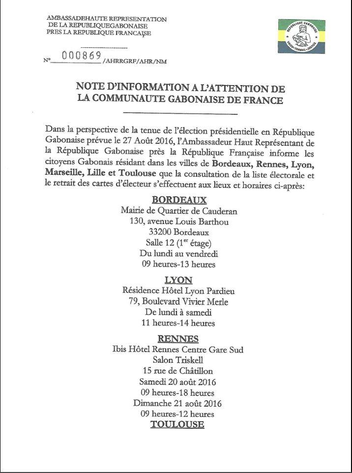 GABON PRESIDENTIELLE 2016 : NOTE D'INFORMATION A L'ATTENTION DE LA COMMUNAUTE GABONAISE DE FRANCE
