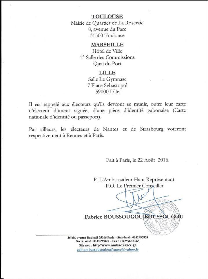 Gabon-Présidentielle 2016 : les centres de vote en France
