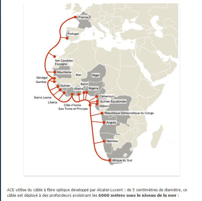 ACE - 17000 km de câble sous-marin pour relier l'Afrique à Internet