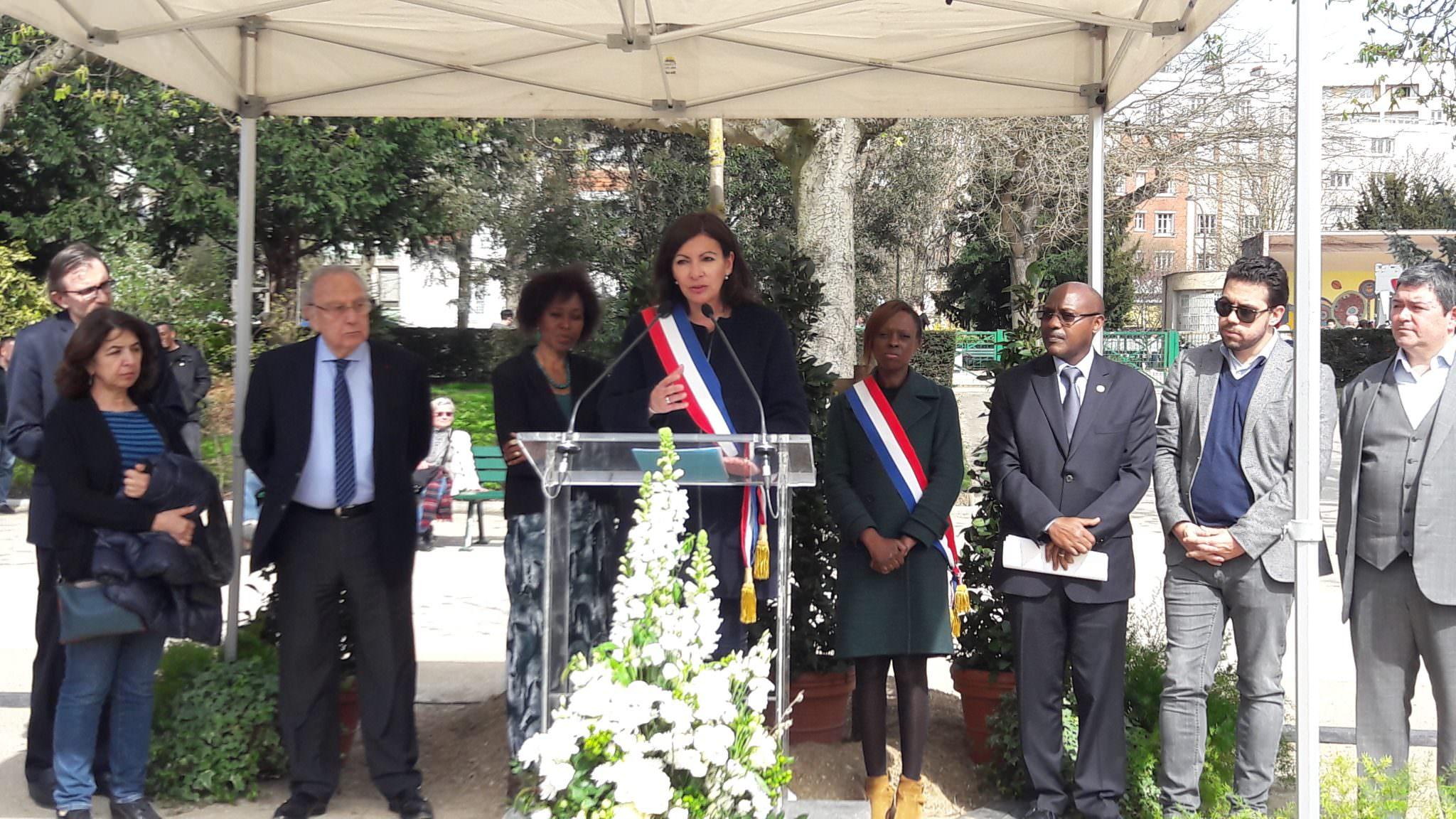 Paris - Samedi 07 Avril 2018, jardin de la mémoire, Parc de Choisy, commémoration du 24e anniversaire du génocide Rwandais-Mme Anne Hidalgo