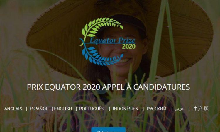 Appel à candidatures pour le prix équateur 2020