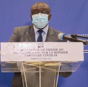 Léon Armel Bounda Balonzi le 9 juillet 2020 durant sa conférence de presse © Gabonactu.com