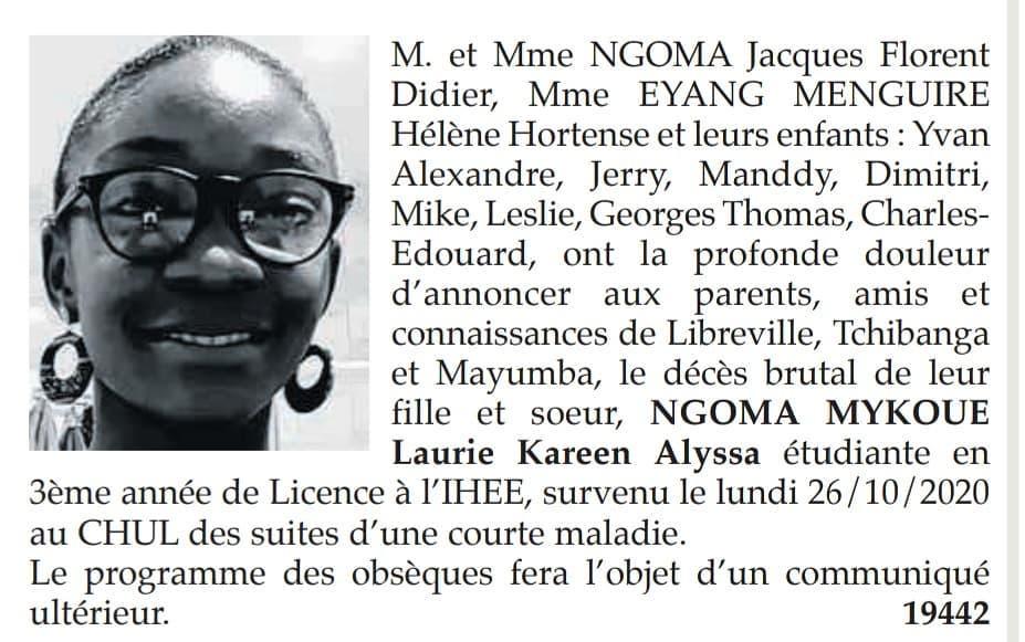 Gabon | Nécrologie : Disparition de la jeune NGOMA MYKOUE LAURIE KAREEN ALYSSA